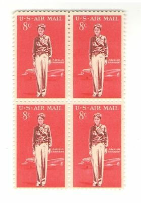 Amelia Earhart 54 Year Old Mint Vintage Airmail Stamp Block from 1963