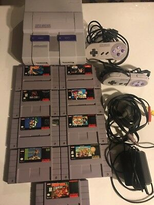 Super Nintendo Lot System And Games Tested SNES