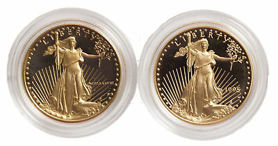 Lot of 2 - 12oz Proof Gold Eagle - Capsules Only Random Date