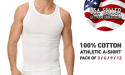 Pack of 3 6 9 12 Mens New A-shirt Undershirt Ribbed Tank Top 100COTTON Wife Be