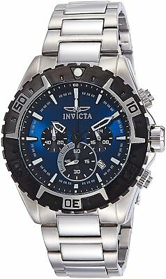 Invicta Mens 22526 Aviator Chronograph 49mm Blue Dial Stainless Steel Watch