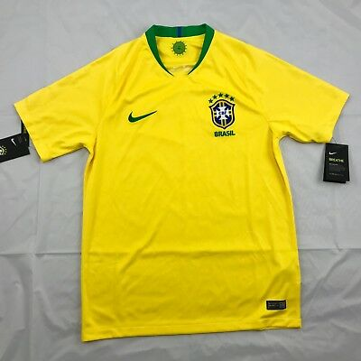 Nike 2018 World Cup Brazil Brasil Home Soccer Jersey Yellow 893856-749 Mens S