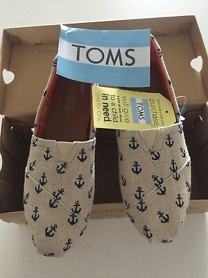womens toms shoes size 8 new classic natural anchors embroidered
