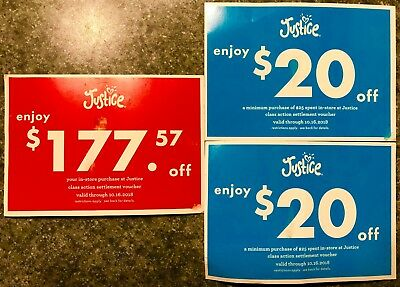 Justice Store Coupon Voucher Gift Card for 177-57 plus two 20 off 25 coupons