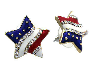 4th of July USA American  Flag Star Stud Earrings Independence Day Jewelry Gift