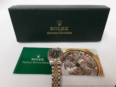 Ladies 18K Gold SS 69173 Blue Diamond Dial Rolex Datejust w Rolex Repair Box