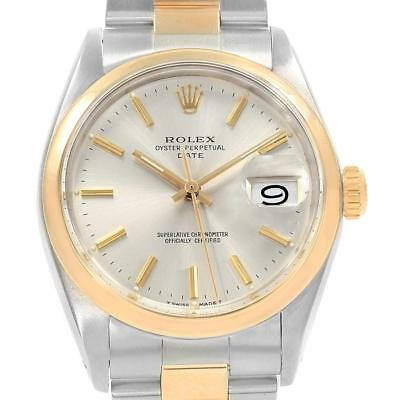Rolex Date Steel Yellow Gold Silver Dial Vintage Mens Watch 1500