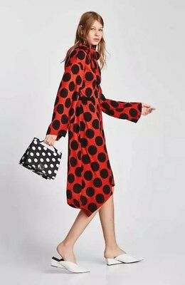 New Zara Polka Dot Dress With Bow Red Size Small Brick Color
