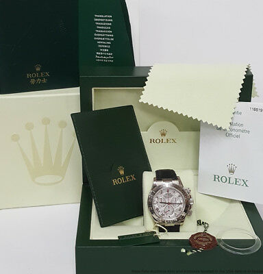 Rolex Daytona Cosmograph 18k White Gold Meteorite Dial Watch Box Papers 116519
