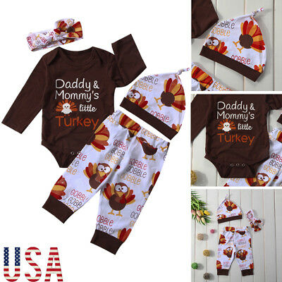 Newborn Toddler Baby Girls Boys Romper Tops-Pants-Hat Thanksgiving Outfits Set