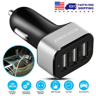 Universal Fast Charging 3 Port USB Fast Car Charger Adapter - Cell Phone Holder