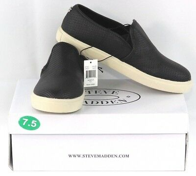 NEW Womens STEVE MADDEN Black Perforated EVREST Slip-On Shoes   7 to 9