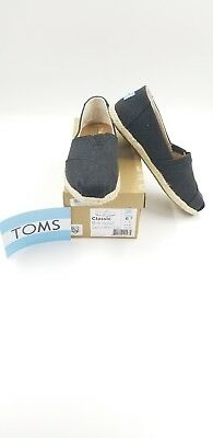 TOMS Womens Black Washed Canvas Rope Espadrilles Flats Shoes 6-5