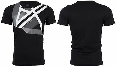 Armani Exchange RIGHT SIDE UP Mens Designer T-SHIRT Premium  BLACK Slim Fit 45