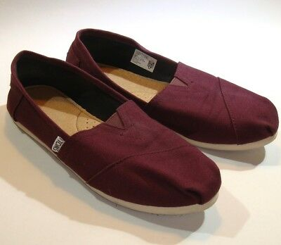 TOMS Classics - Womens Size 8 Shoes Burgundy Canvas Slip-Ons