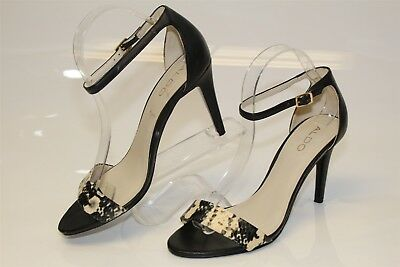 ALDO Womens 9 40 Embossed Leather Ankle Strap Sandals Heels Shoes pv