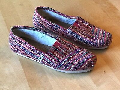 TOMS WOMENS FAUX SHEARLING LINED SLIP ON MULTI STRIPE BLANKET STYLE SHOES SZ 8-5