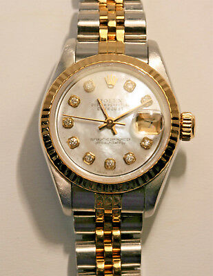 ROLEX 69173 OYSTER PERPETUAL DATEJUST WATCH  MOTHER-OF-PEARL DIAL - DIAMONDS