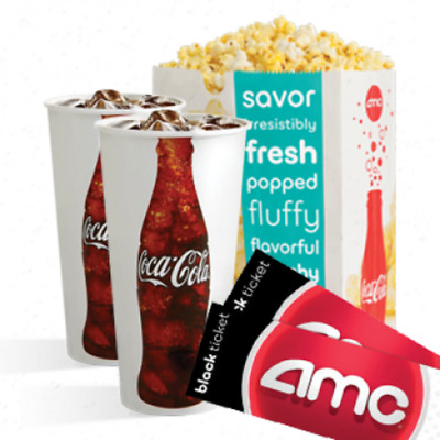 2 AMC Black Tickets 2 Large Drinks and 1 Large Popcorn