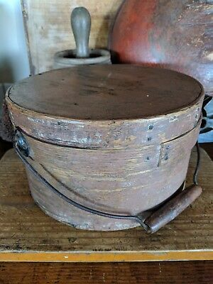 Antique Early Bale Handled Pantry Box w Original Paint 9 inch - Wood Primitive