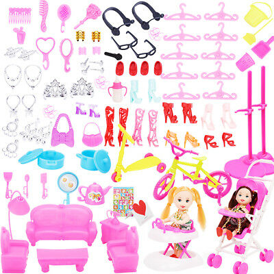 108pcs Jewelry Necklace Earring Comb Shoes Crown Accessories for Barbie Dolls