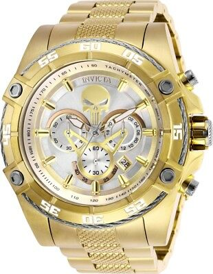 Invicta 26864 Marvel Punisher Mens Chronograph 52mm Gold-Tone Silver Dial Watch