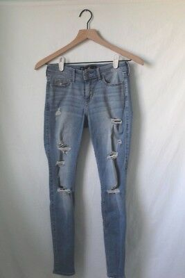 Hollister Co- Girls Size 1R Medium Wash Ripped Low Rise Skinny Crop Jeans