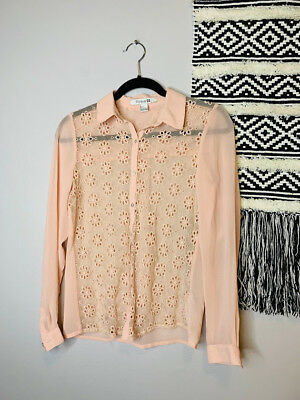 Forever 21 Sheer Blush Pink Floral Button Down Blouse Top Size Small 1136