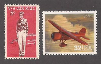 AMELIA EARHART - VEGA AIRCRAFT - 2 U-S- POSTAGE STAMPS - MINT CONDITION