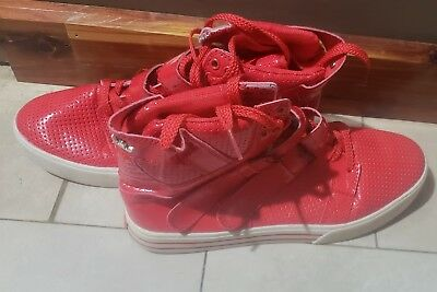 SUPRA SMOOTH RED HIGH TOP SIZE 10 12 MENS SKATE SHOES