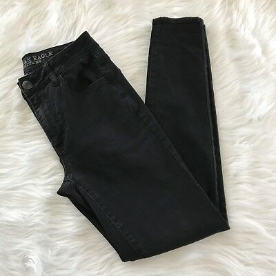 American Eagle Outfitters Womens Jean Sz 6 Black Super Stretch High Rise Jegging