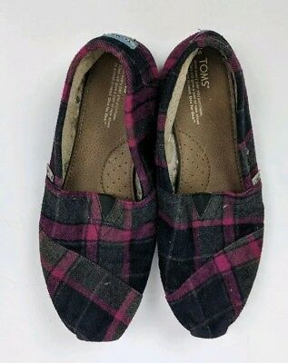 TOMS PinkGray Plaid Flannel Slip On Shoes Flats Womens Size 11