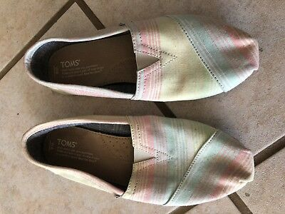 Toms Classics Womens Canvas Slip-On PinkYellowBlue Striped Shoes - Size 8