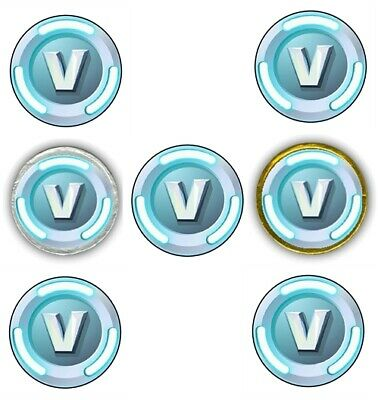 30 Fortnite V Bucks 1-5 Round Labels Sticker for Cupcake Topper Chocolate Coins
