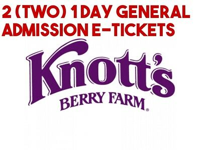 Knotts Berry Farm e-tickets - 1 Day General Day Admission Total of 2 e-tickets