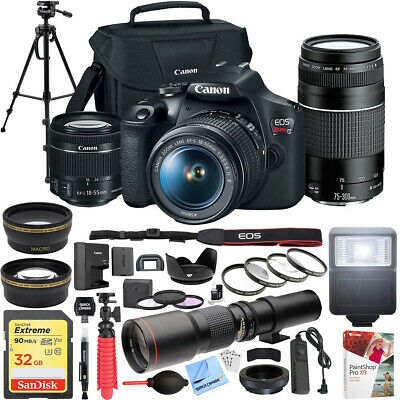 Canon EOS Rebel T7 DSLR Camera w 18-55mm IS II - 75-300mm III Dual Lens Pro Kit