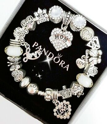 Authentic Pandora Bracelet Silver Bangle with Love Wife Mom European Charms