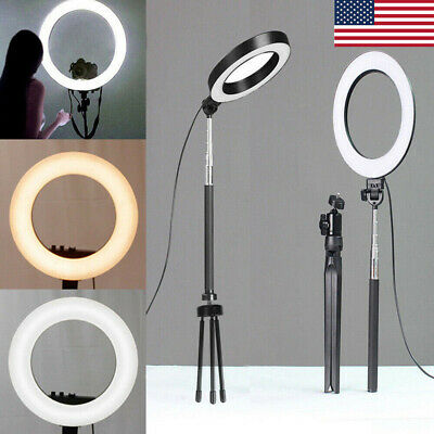 6 LED Ring Light with Stand 5500K Dimmable Lighting Kit for Makeup Phone Camera