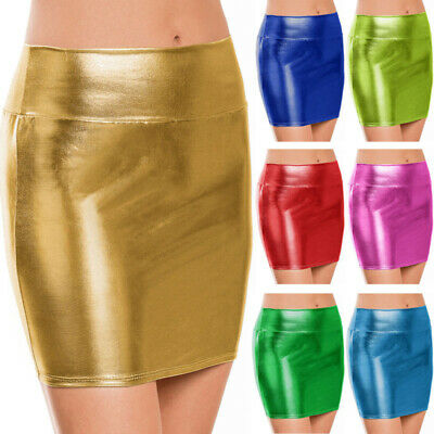 ROCK LACKLEDER DAMEN HOHE TAILLE SHORTS KOST M STIFT METALLISCH PU BODYCON