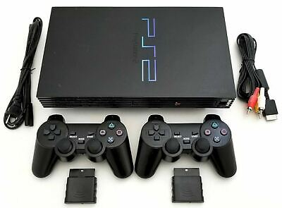 2 WIRELESS CONTROLLERS Sony PS2 Game System Gaming Console PLAYSTATION-2 Black