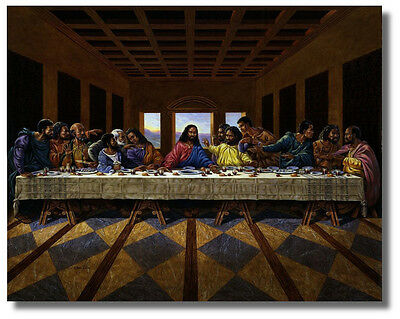 Jesus Christ Black Last Supper Religious - Inspirational Wall Art Print Picture