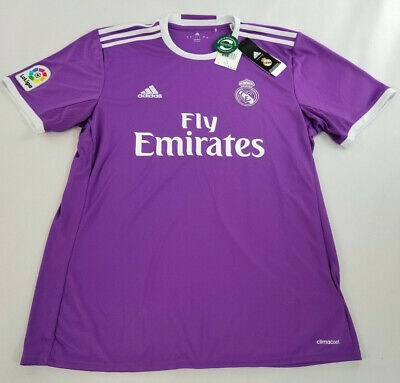 new ADIDAS men shirt jersey REAL MADRID soccer climacool purple white L MSRP 90