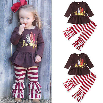 US Toddler Kids Baby Girl Thanksgiving Dress Tops Stripe Leggings Outfit Clothes