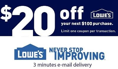 1 x 20 OFF LOWES 1Coupon ONLINE USE ONLY - Lowes online -Insta E-delivery
