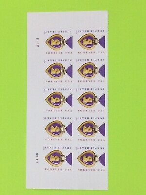 USPS Block Of 10 2014 Purple hearts Forever Stamps Face Valu 5-50 Free Shipping