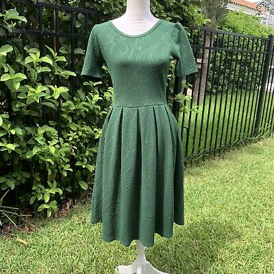 Lularoe Amelia Green Floral Textured Pleated Fit Flare Dress Size Small