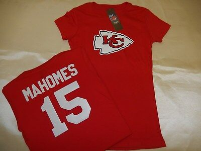 9715-5 WOMENS Kansas City Chiefs PATRICK MAHOMES Crew Neck Jersey Shirt RED New