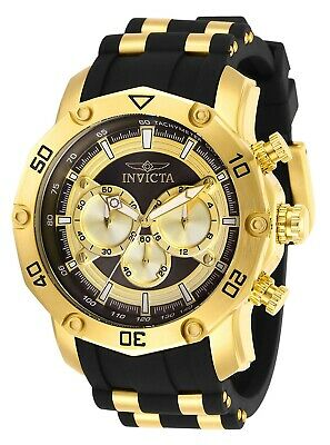 Invicta 30029 Pro Diver Mens 50mm Chronograph Gold-Tone Charcoal Dial Watch