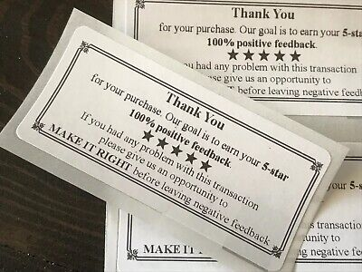 THANK YOU For Your Purchase ENVELOPEPACKAGE SEALS LABELS STICKERS 5-STAR