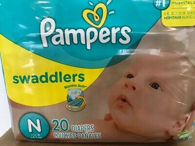 Pampers Swaddlers Disposable Diapers - Size N Newborn 12 Packs of 20 Total 240